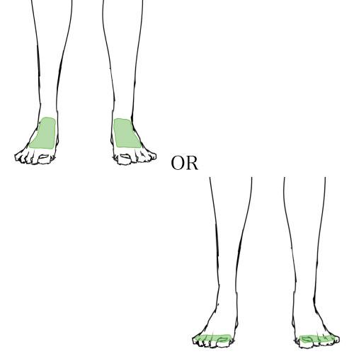 足の甲or足の指
